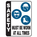 Hat, Glasses, Boots Picto Safety Must Be Worn At All Times Sign Metal - H800mm x W450mm