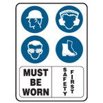 Hats, Glasses, Boots, Earmuffs Picto Must Be Worn Safety First