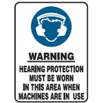 Hearing Protection Picto Hearing Protection Must Be Worn In This Area When Machines Are In Use Sign
