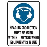 Hearing Protection Picto Hearing Protection Must Be Worn Within __ Metres When Equipment Is In Use Sign