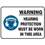 Hearing Protection Picto Warning Hearing Protection Must Be Worn In This Area Sign Metal - H300mm x W450mm