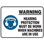 Hearing Protection Picto Warning Hearing Protection Must Be Worn When Machines Are In Use Sign Metal