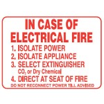 In Case Of Electrical Fire Sign Metal - H450mm x W600mm