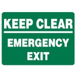 Keep Clear Emergency Exit Sign Metal - H300mm x W450mm