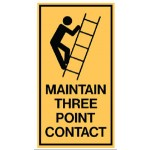 Ladder Picto Maintain Three Point Contact Sign Self-Adhesive Vinyl - H125mm x W90mm