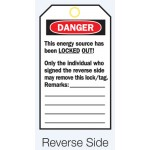 Reverse Lockout Tags - Do Not Operate Maintenance Department/Only The Individual Who..