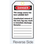 Reverse Lockout Tags - Do Not Operate Maintenance Department/Unauthorised Removal..