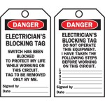 Lockout Tags - Electricians Blocking Tag