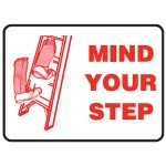 Mind Your Step Sign Self-Adhesive Vinyl - H100mm x W150mm