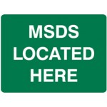 MSDS Located Here First Aid Sign