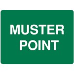 Muster Point Sign, 600 x 450mm - Reflective Metal