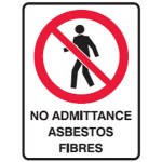 No Entry Picto No Admittance Asbestos Fibres Sign Metal - H300mm x W450mm