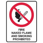 No Flames Picto Fire, Naked Flame And Smoking Prohibited Sign Metal