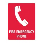 Phone Picto Fire Emergency Phone Sign Metal - H300mm x W225mm