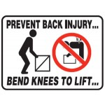 Picto Prevent Back Injury Bend Knees To Lift Sign Metal - H450mm x W600mm