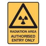 Radiation Picto Radiation Area Authorised Entry Only Sign Metal - H450mm x W300mm