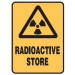 Radiation Picto Radioactive Store Sign Metal - H300mm x W225mm