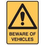 Safety Alert Picto Beware Of Vehicles Sign Metal