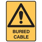 Safety Alert Picto Buried Cable Sign Metal - H300mm x W450mm