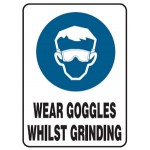 Safety Goggles Picto Wear Goggles Whilst Grinding Sign