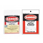 Rigid Plastic Danger Tag With Clear Pocket