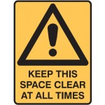 Picto Keep This Space Clear At All Times Sign