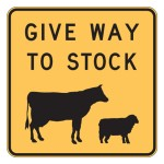 Stock Crossing Sign - Give Way To Stock