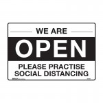 Open Sign - We Are Open Please Practise Social Distancing
