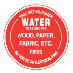 Water To Be Used For Wood, Paper, Fabric, Etc. Fires Sign Polypropylene - 190mm Dia.