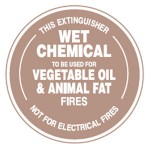 Wet Chemical To Be Used For Vegetable Oil & Animal Fat Fires Sign PVC - 190mm Dia.
